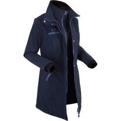 Długa kurtka softshell, w optyce 2 w 1 bonprix ciemnoniebieski. Niebieskie bomberki damskie bonprix, s, z softshellu. Za 239,99 zł.