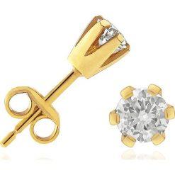 Kolczyki damskie: Piękne Złote Kolczyki – złoto żółte 585, Brylant 0,50ct