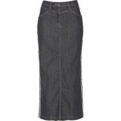 Spódnica dżinsowa z ozdobnymi paskami bonprix szary denim. Szare spódniczki bonprix, w paski, z denimu. Za 89,99 zł.