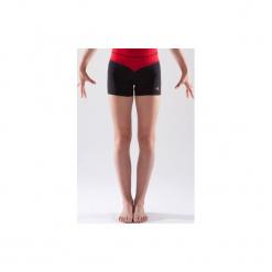 Spodenki do gimnastyki 500 damskie. Czerwone bermudy damskie DOMYOS, z elastanu. Za 39,99 zł.
