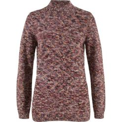 Swetry klasyczne damskie: Sweter ze stójką bonprix czerwony kasztanowy – żółty melanż