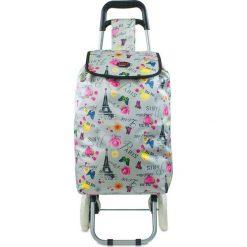 """Shopper bag damskie: Torba """"Oural"""" w kolorze srebrnym ze wzorem na zakupy – 35 x 92 x 28 cm"""