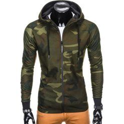 BLUZA MĘSKA ROZPINANA Z KAPTUREM B741 - ZIELONA/MORO. Zielone bluzy męskie rozpinane Ombre Clothing, m, moro, z bawełny, z kapturem. Za 69,00 zł.