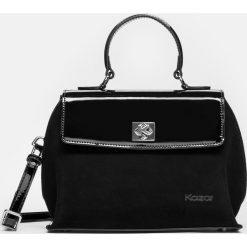 Czarna torebka damska. Czarne torebki klasyczne damskie Kazar, z aplikacjami, z nubiku, z tłoczeniem. Za 799,00 zł.