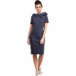 Niebieska Sukienka Sportowa Midi z Kapturem. Szare sukienki dresowe marki bonprix, melanż, z kapturem, z długim rękawem, maxi. Za 135,90 zł.