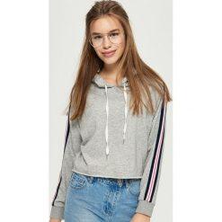 Bluzy rozpinane damskie: Bluza z lampasami - Jasny szar