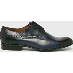 Conhpol - Półbuty. Czarne buty wizytowe męskie Conhpol, z materiału, z okrągłym noskiem, na sznurówki. Za 429,90 zł.