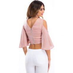 Pudroworóżowa błyszcząca bluzka 21406. Białe bluzki na imprezę marki Fasardi, l. Za 59,00 zł.