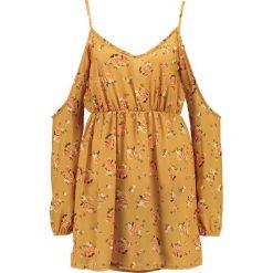 Sukienki: Missguided FLORAL COLD SHOULDER SPLIT SLEEVE  Sukienka letnia yellow