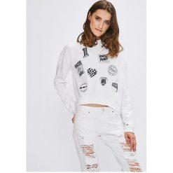 Tommy Jeans - Bluza. Szare bluzy z nadrukiem damskie Tommy Jeans, l, z bawełny, bez kaptura. W wyprzedaży za 239,90 zł.
