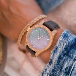 Zegarek Neat Zegarek damski wiąz drewniany błękitno-złoty 38mm. Niebieskie zegarki damskie Neat, złote. Za 355,69 zł.