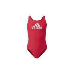 Kostium kąpielowy jednoczęściowy Dziecko adidas  Strój do pływania Badge of Sport. Czerwone stroje jednoczęściowe dziewczęce marki Adidas. Za 79,95 zł.