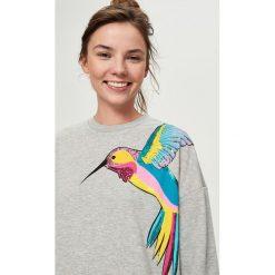 Bluzy rozpinane damskie: Bluza z cekinową aplikacją - Jasny szar