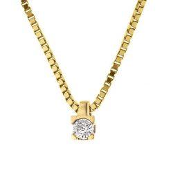 Naszyjniki damskie: Złoty naszyjnik z diamentami – dł. 42 cm