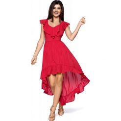Elegancka Maxi Czerwona Sukienka w Typu Hiszpanka. Czerwone długie sukienki marki Molly.pl, na lato, l, z satyny, eleganckie, z dekoltem typu hiszpanka, dopasowane. Za 259,90 zł.