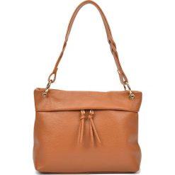 Torebki i plecaki damskie: Skórzana torebka w kolorze jasnobrązowym – (S)33 x (W)25 x (G)10 cm
