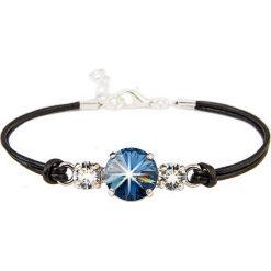Bransoletki damskie na nogę: Skórzana bransoletka w kolorze czarnym z elementem ozdobnym