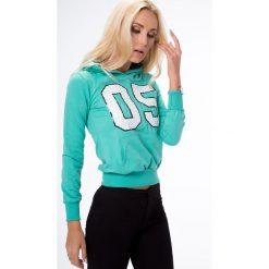 Bluzy damskie: Bluza miętowa z cekinami 0115