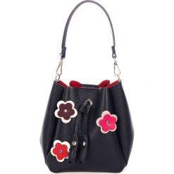 Torebki klasyczne damskie: Skórzana torebka w kolorze czarnym - 25 x 40 x 15 cm