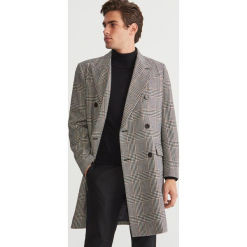 Dwurzędowy płaszcz z domieszką wełny - Szary. Szare płaszcze na zamek męskie Reserved, l, z wełny. Za 399,99 zł.