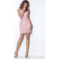 Różowa Wyjściowa Lekko Rozkloszowana Sukienka z Dekoltem na Plecach. Różowe sukienki balowe marki numoco, l, z dekoltem w łódkę, oversize. Za 179,90 zł.
