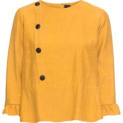 Bluzka z guzikami bonprix żółty musztardowy. Żółte bluzki z odkrytymi ramionami marki bonprix. Za 89,99 zł.