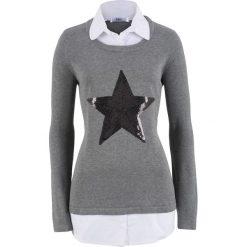 Sweter 2 w 1 z koszulową wstawką, długi rękaw bonprix szary melanż. Szare swetry klasyczne damskie bonprix, z koszulowym kołnierzykiem. Za 119,99 zł.