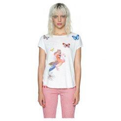 Desigual Desigual Koszulka Damska Xs Biała. Białe bluzki z odkrytymi ramionami marki Desigual, xs, z nadrukiem, z bawełny. W wyprzedaży za 169,00 zł.
