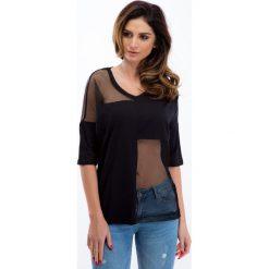 Bluzki damskie: Czarna bluzka z siateczką 21352