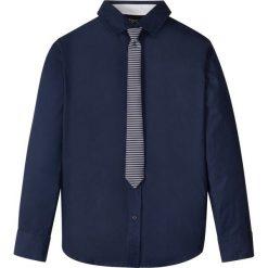 Koszula z krawatem (2 części) bonprix ciemnoniebieski. Białe koszule męskie na spinki marki bonprix, z klasycznym kołnierzykiem, z długim rękawem. Za 74,99 zł.