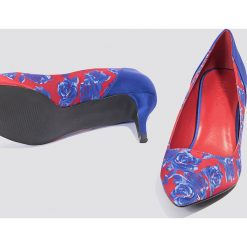 Czółenka: NA-KD Shoes Satynowe czółenka na średnim obcasie - Blue,Multicolor