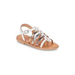 Sandały Dziecko  Les Tropéziennes par M Belarbi  MONGUE. Białe sandały dziewczęce marki Born2be, z materiału, na sznurówki. Za 239,00 zł.
