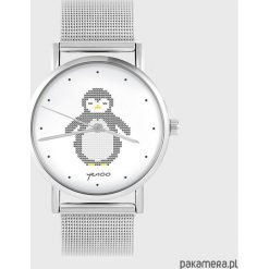 Zegarki damskie: Zegarek - Pingwin, dziergany - metalowy