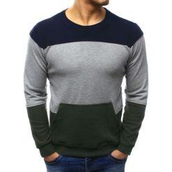Swetry klasyczne męskie: Sweter męski z kieszenią khaki-szary (wx1031)