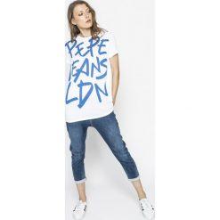 Pepe Jeans - Top Marina. Szare topy damskie marki Pepe Jeans, m, z nadrukiem, z dzianiny, z okrągłym kołnierzem. W wyprzedaży za 119,90 zł.