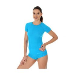 Bluzki asymetryczne: Brubeck Koszulka damska active wool niebieska r. L (SS11700)