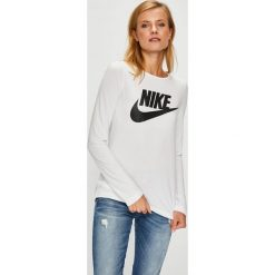 Nike Sportswear - Bluzka. Szare bluzki z odkrytymi ramionami Nike Sportswear, l, z nadrukiem, z dzianiny, z okrągłym kołnierzem. W wyprzedaży za 139,90 zł.