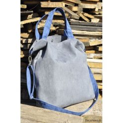 Torba hobo XXL - szarość, kobalt. Szare torebki klasyczne damskie Pakamera, z syntetyku. Za 119,00 zł.