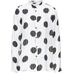 Bluzki asymetryczne: Bluzka w grochy bonprix biel wełny w czarne grochy