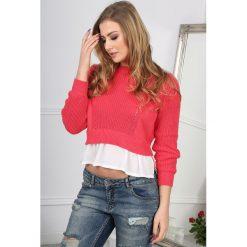Swetry damskie: Koralowy Sweter z Kremową Wstawką BB19009