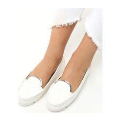 Mokasyny damskie: Białe Mokasyny Loafers