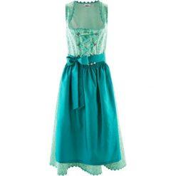 Długie sukienki: Sukienka ludowa z fartuchem, długość do łydki bonprix turkusowy wzorzysty