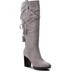Kozaki ANN MEX - 8228 11D Szary. Czarne buty zimowe damskie marki Kazar, ze skóry, przed kolano, na wysokim obcasie, na obcasie. W wyprzedaży za 369,00 zł.