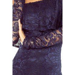 Luisa Sukienka koronkowa - hiszpanka z długim rękawkiem - GRANATOWA. Szare sukienki hiszpanki marki Molly.pl, l, w koronkowe wzory, z koronki, eleganckie, z dekoltem typu hiszpanka, z krótkim rękawem, midi, dopasowane. Za 229,99 zł.