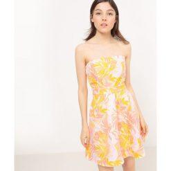 Sukienki hiszpanki: Krótka, gorsetowa sukienka bez rękawów z żakardowym nadrukiem