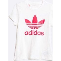 Adidas Originals - Top dziecięcy 110-170 cm. Białe bluzki dziewczęce marki adidas Originals, z nadrukiem, z bawełny, z okrągłym kołnierzem. W wyprzedaży za 69,90 zł.