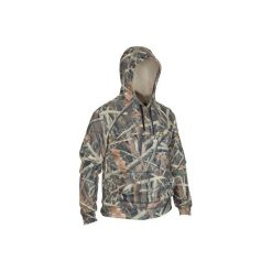 Bluza myśliwska z kapturem męska Sibir300 Kamo-R. Brązowe bluzy męskie rozpinane marki SOLOGNAC, m, z kapturem. W wyprzedaży za 99,99 zł.