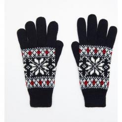 Wzorzyste rękawiczki pięciopalczaste - Granatowy. Niebieskie rękawiczki damskie marki Cropp. Za 34,99 zł.