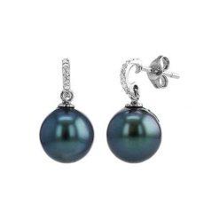 Biżuteria i zegarki: Kolczyki z białego złota z perłami Tahiti i diamentami