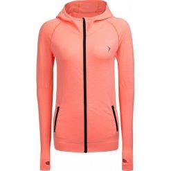 Bluza treningowa damska BLDF600 - koral neon - Outhorn. Szare bluzy rozpinane damskie marki Outhorn, melanż, z bawełny. W wyprzedaży za 79,99 zł.